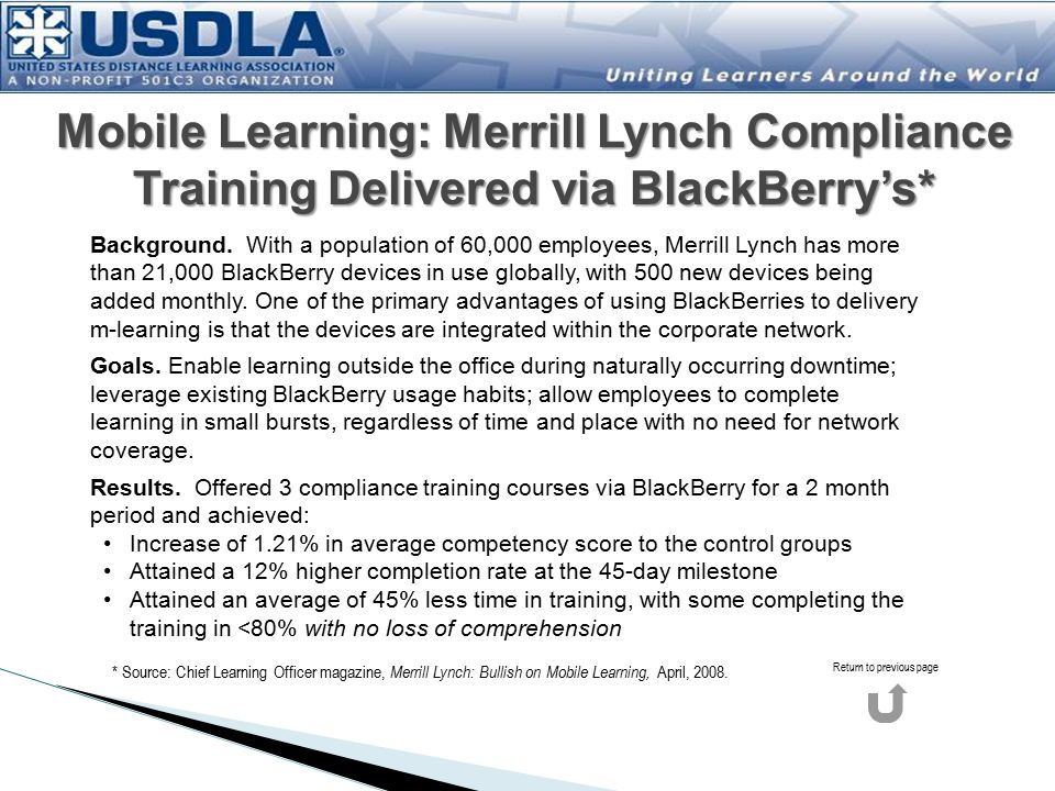 Mobile Learning: Merrill Lynch Compliance Training Delivered via BlackBerry's*