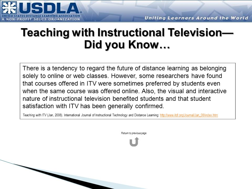 Teaching with Instructional Television—Did you Know…
