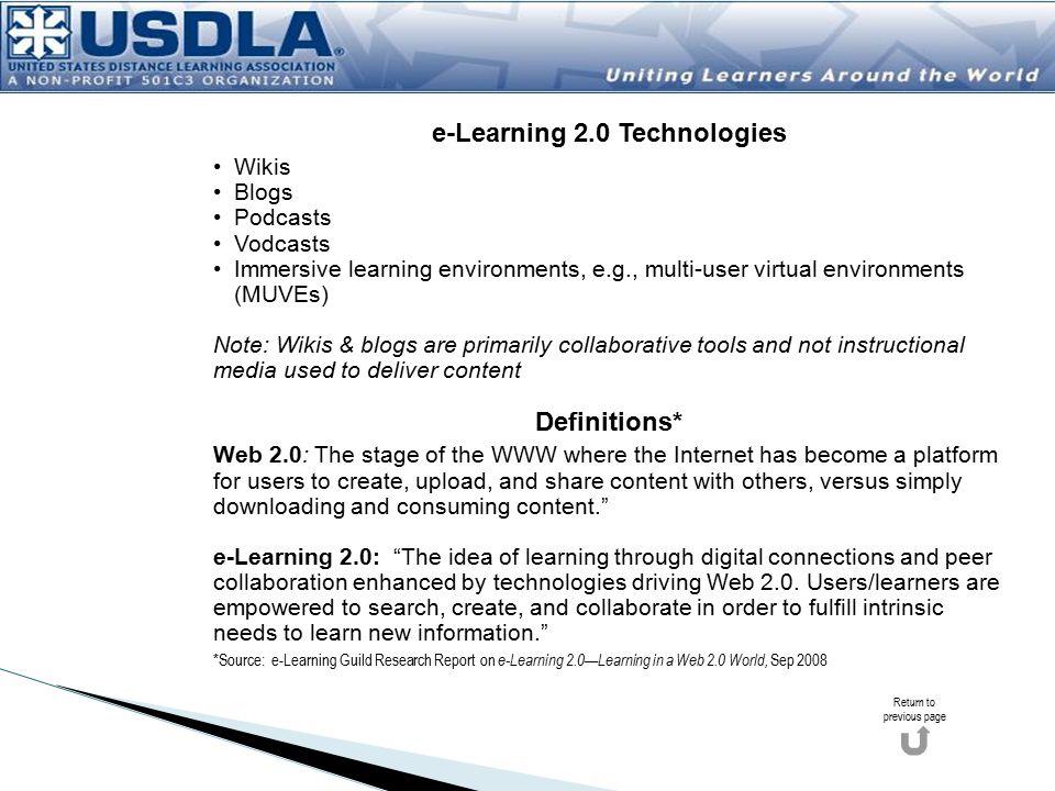 e-Learning 2.0 Technologies