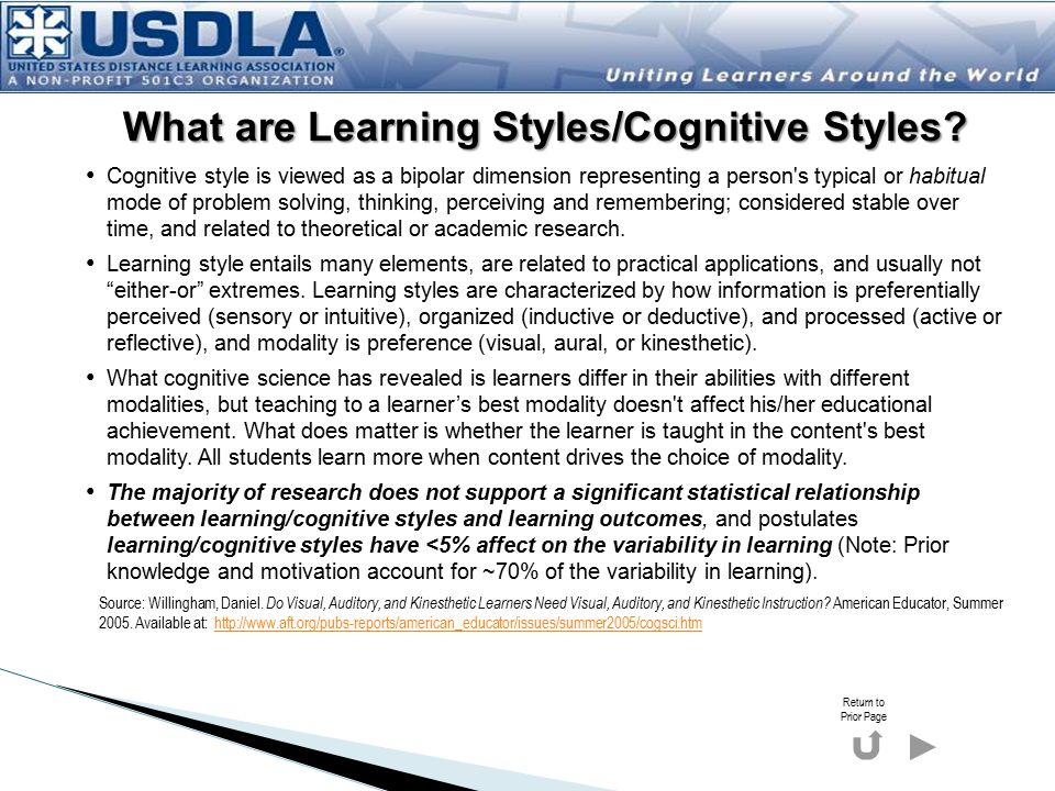 What are Learning Styles/Cognitive Styles