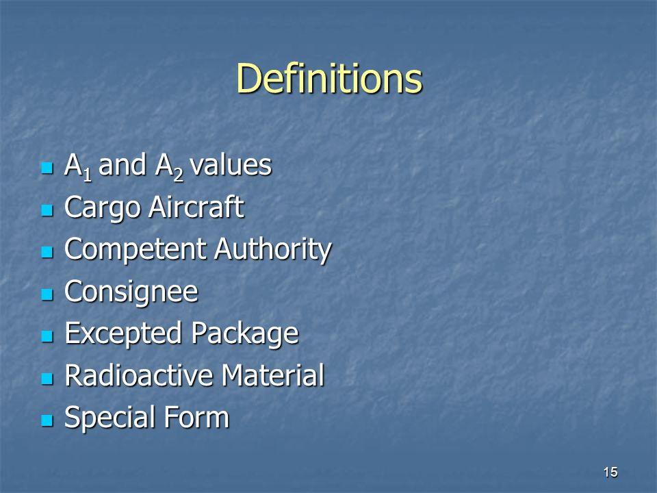 Definitions A1 and A2 values Cargo Aircraft Competent Authority