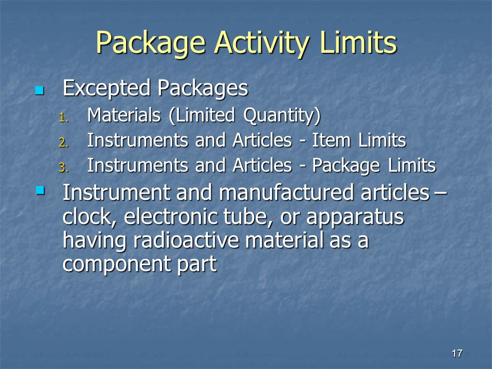 Package Activity Limits
