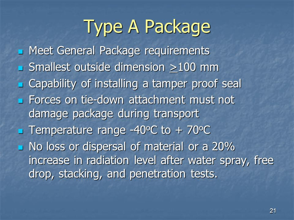Type A Package Meet General Package requirements