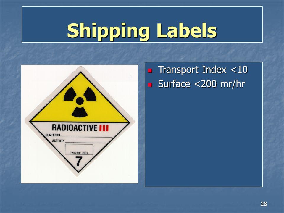 Shipping Labels Transport Index <10 Surface <200 mr/hr