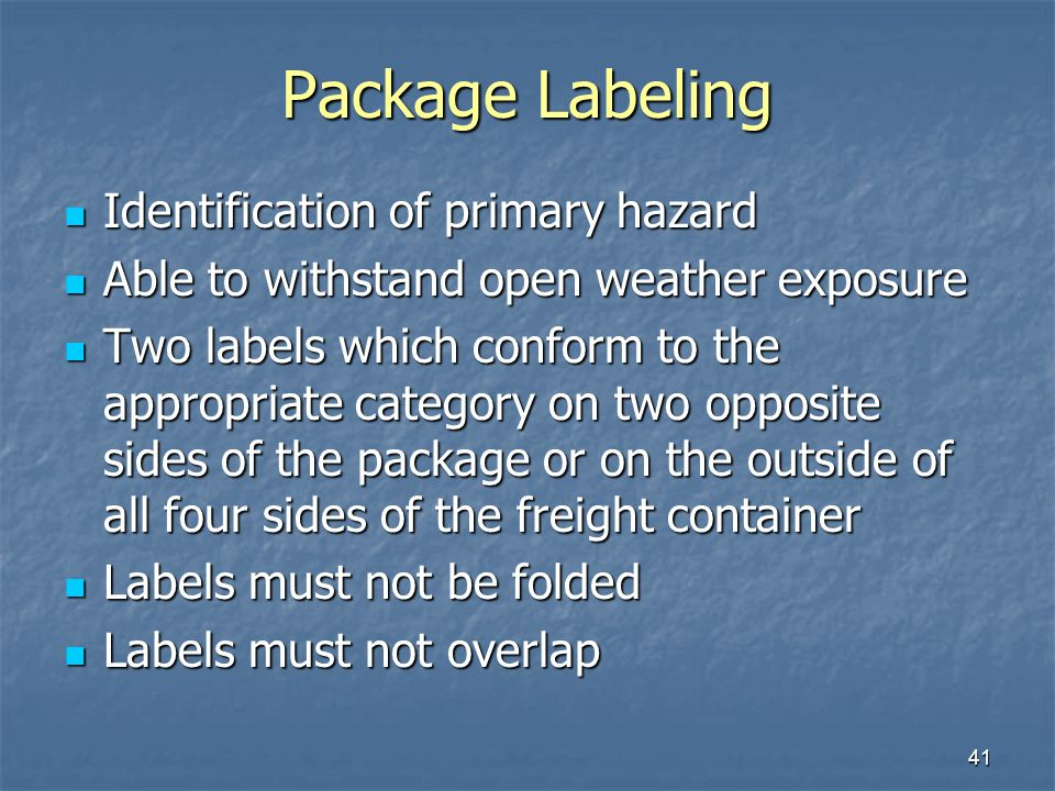 Package Labeling Identification of primary hazard