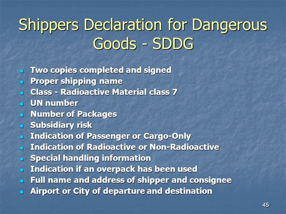 Shippers Declaration for Dangerous Goods - SDDG
