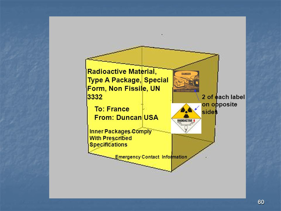 Radioactive Material, Type A Package, Special Form, Non Fissile, UN 3332