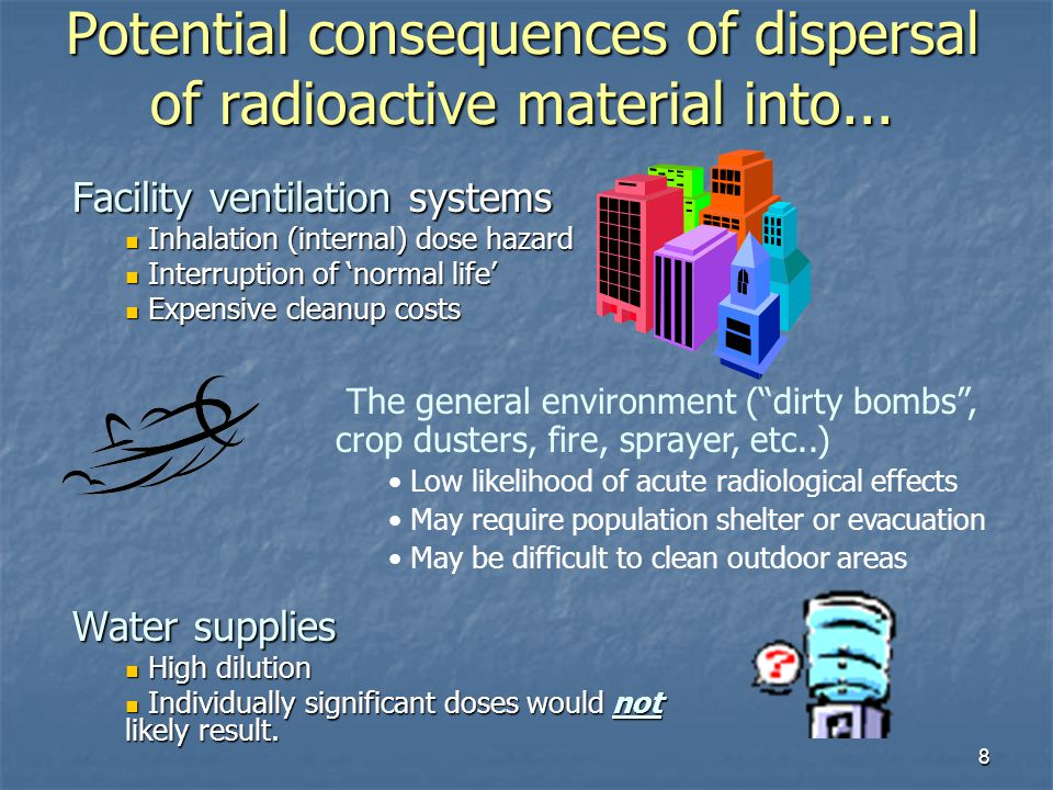 Potential consequences of dispersal of radioactive material into...