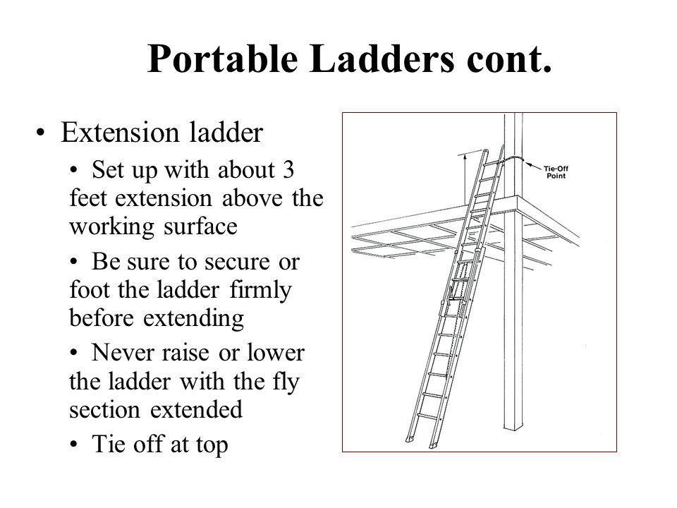 Portable Ladders cont. Extension ladder
