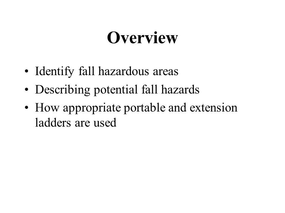 Overview Identify fall hazardous areas