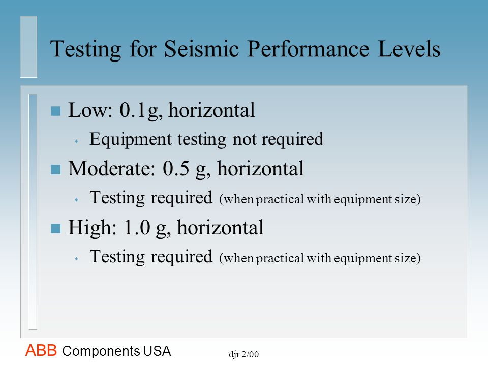 Testing for Seismic Performance Levels