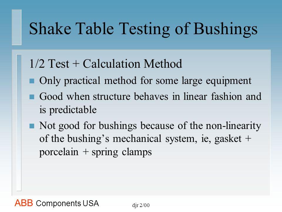 Shake Table Testing of Bushings