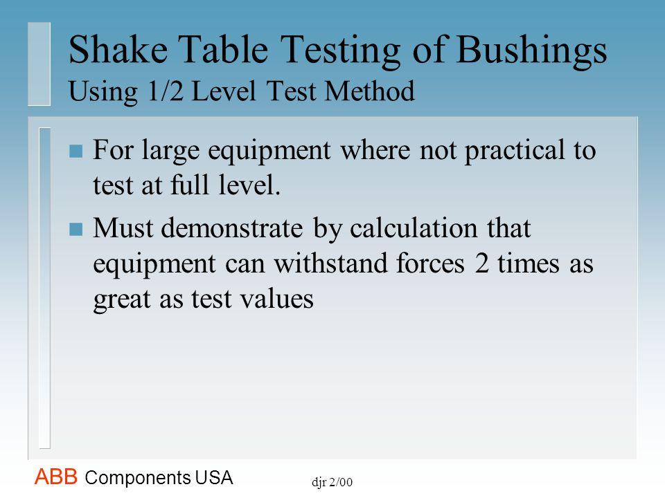 Shake Table Testing of Bushings Using 1/2 Level Test Method