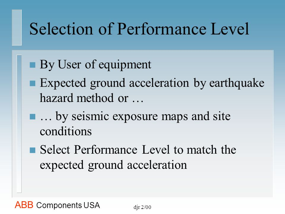 Selection of Performance Level