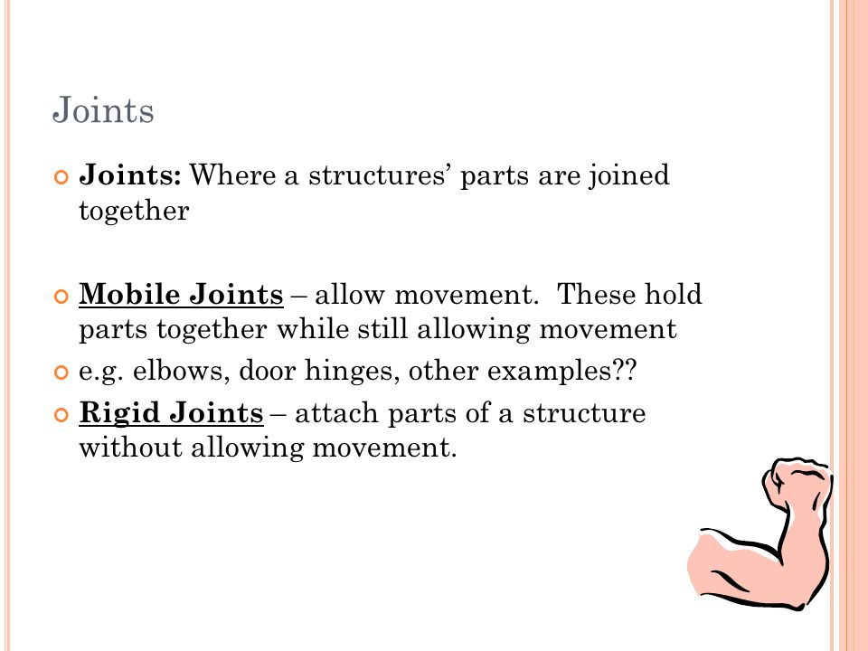 Joints Joints: Where a structures' parts are joined together