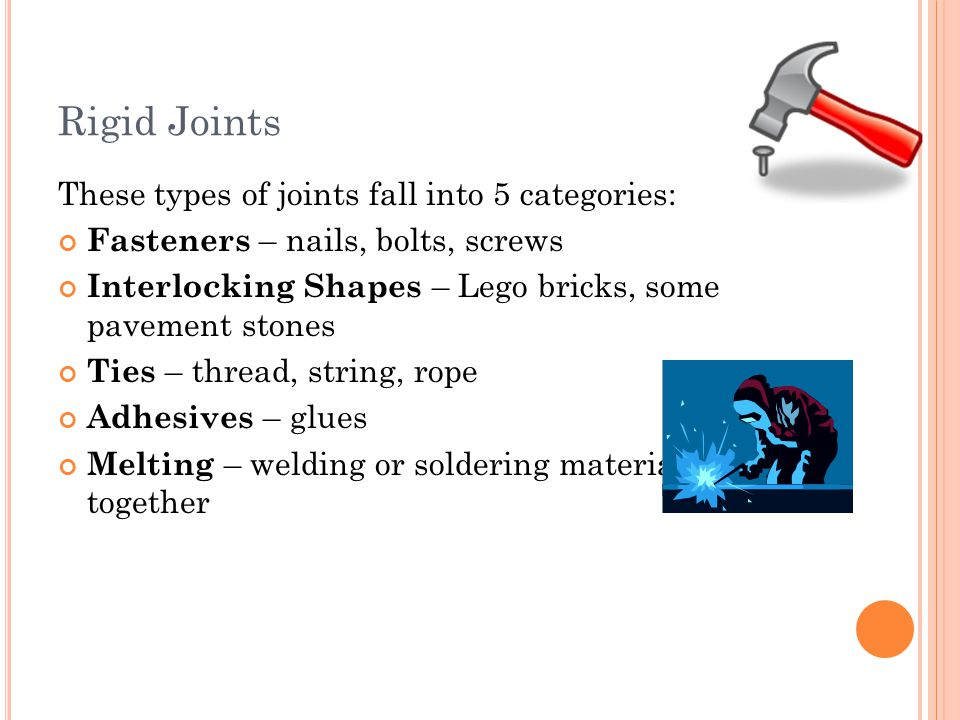 Rigid Joints These types of joints fall into 5 categories: