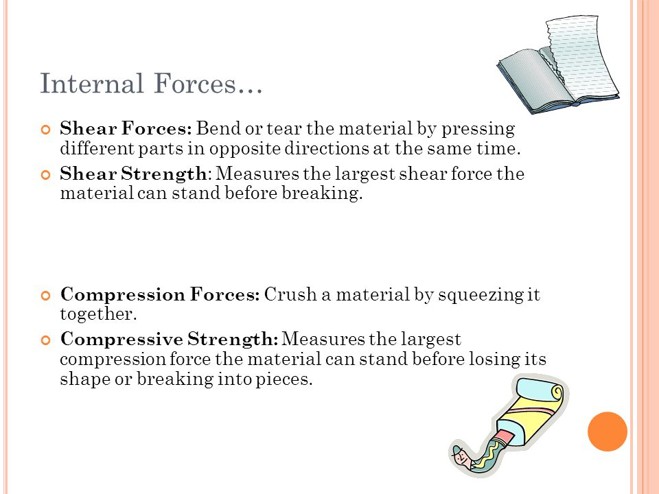 Internal Forces… Shear Forces: Bend or tear the material by pressing different parts in opposite directions at the same time.
