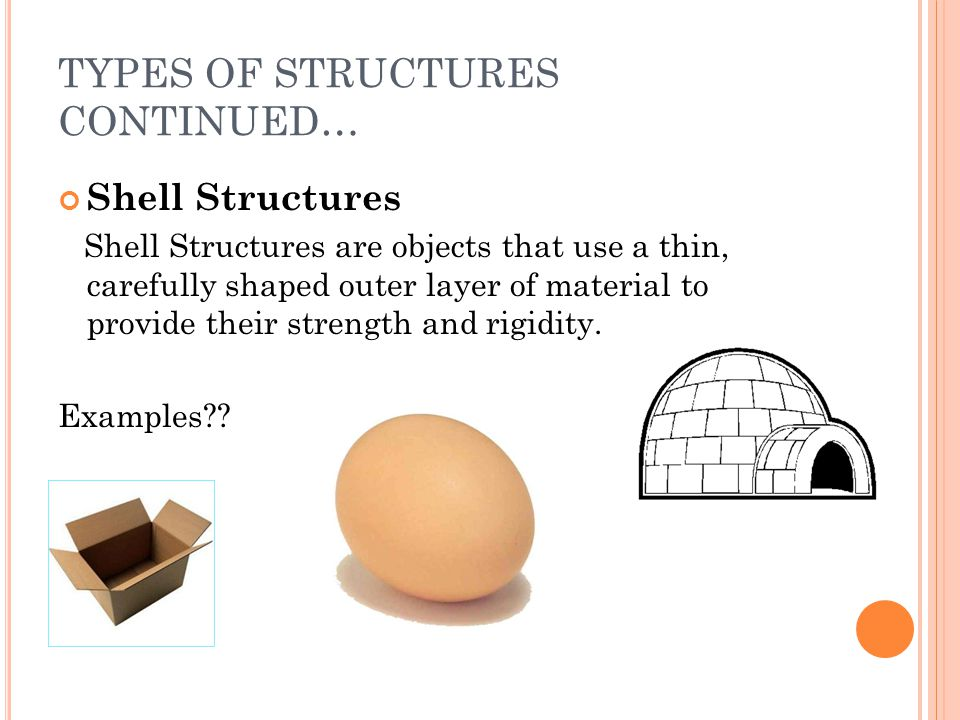 TYPES OF STRUCTURES CONTINUED…