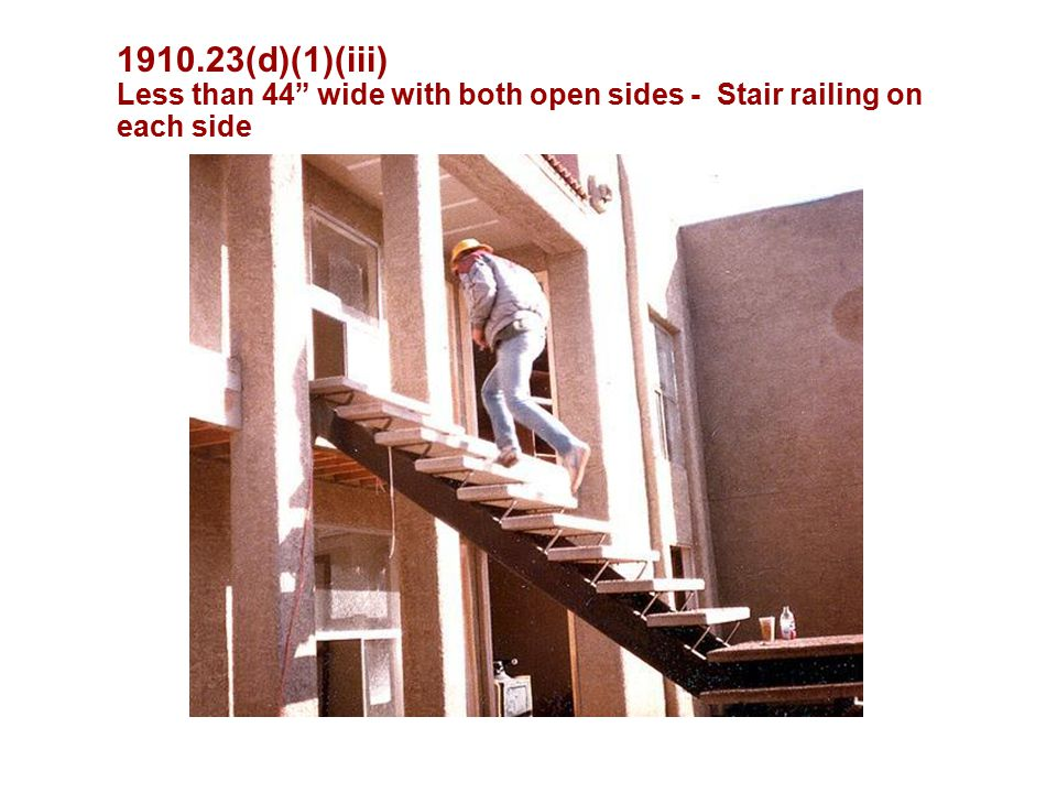 (d)(1)(iii) Less than 44 wide with both open sides - Stair railing on each side