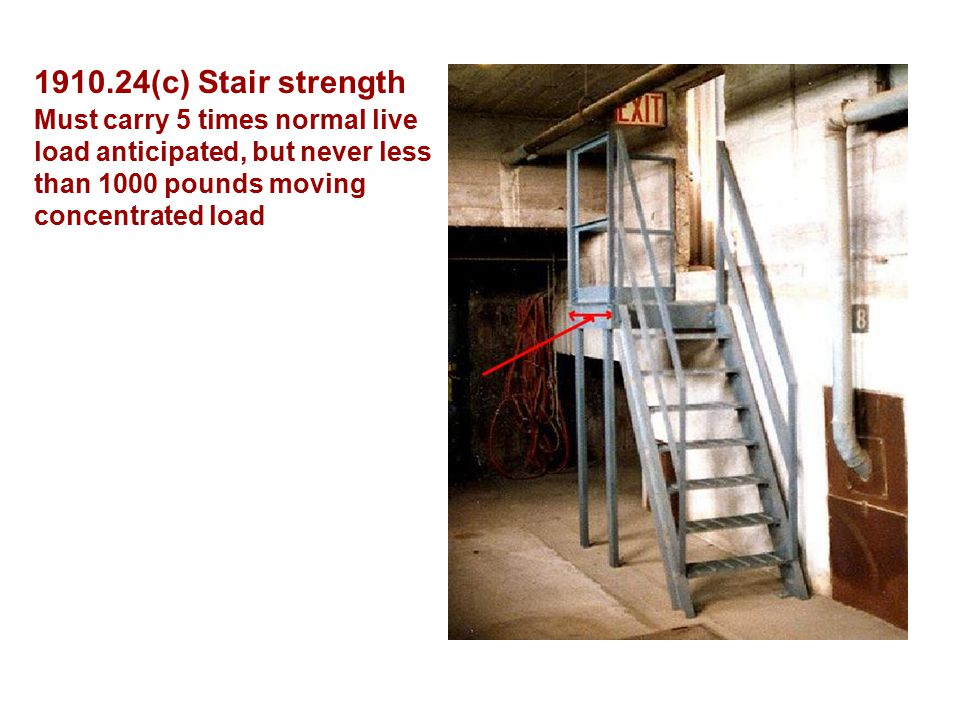 (c) Stair strength Must carry 5 times normal live