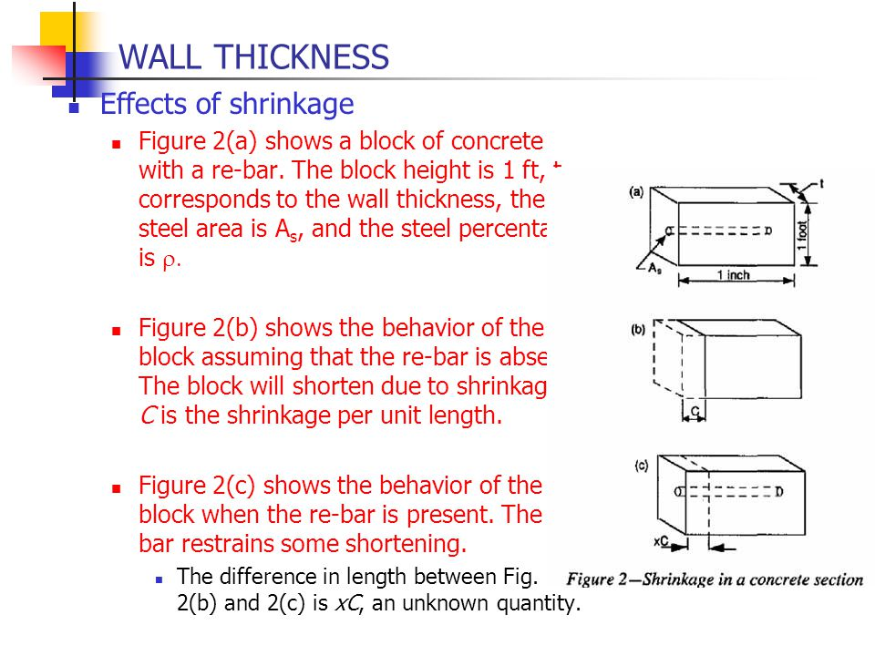 WALL THICKNESS Effects of shrinkage
