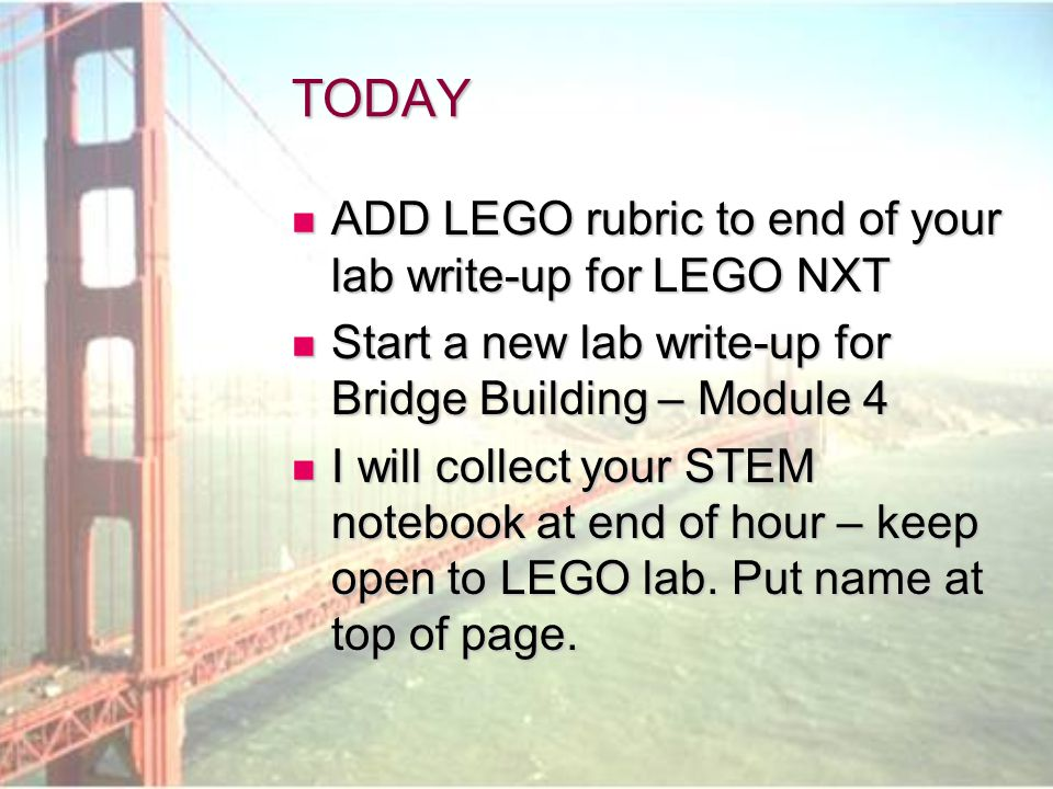 TODAY ADD LEGO rubric to end of your lab write-up for LEGO NXT
