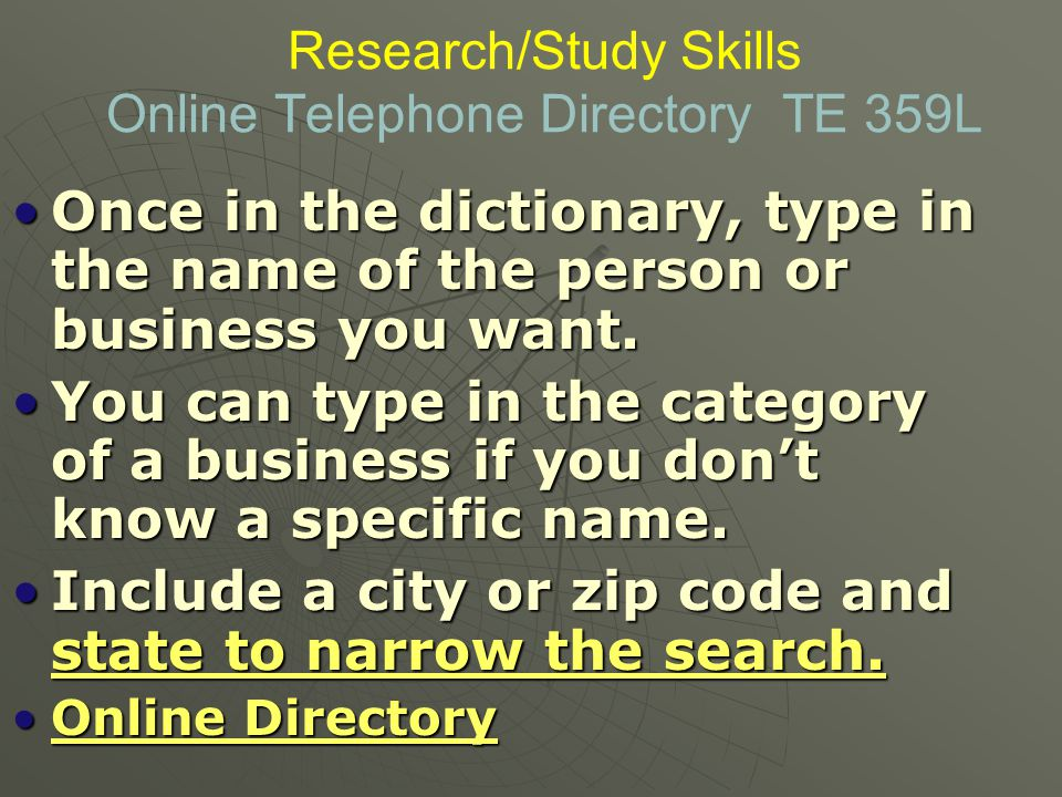 Research/Study Skills Online Telephone Directory TE 359L