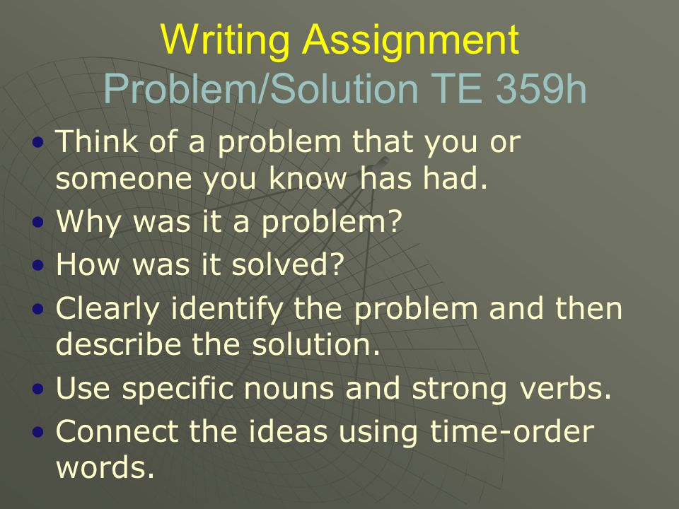 Writing Assignment Problem/Solution TE 359h