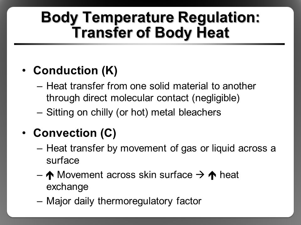 Body Temperature Regulation: Transfer of Body Heat