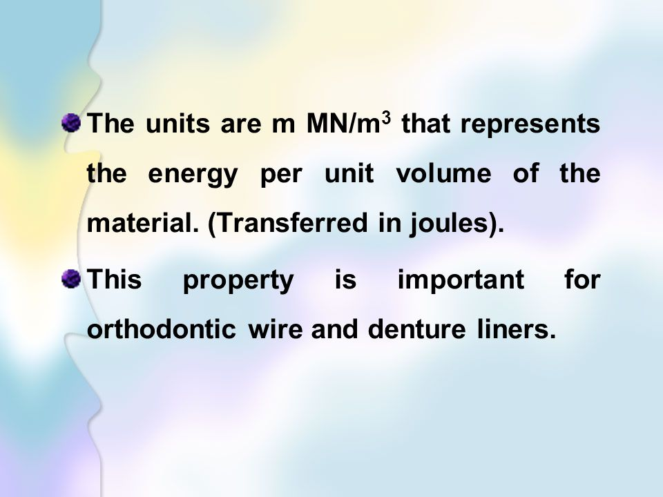 The units are m MN/m3 that represents the energy per unit volume of the material. (Transferred in joules).