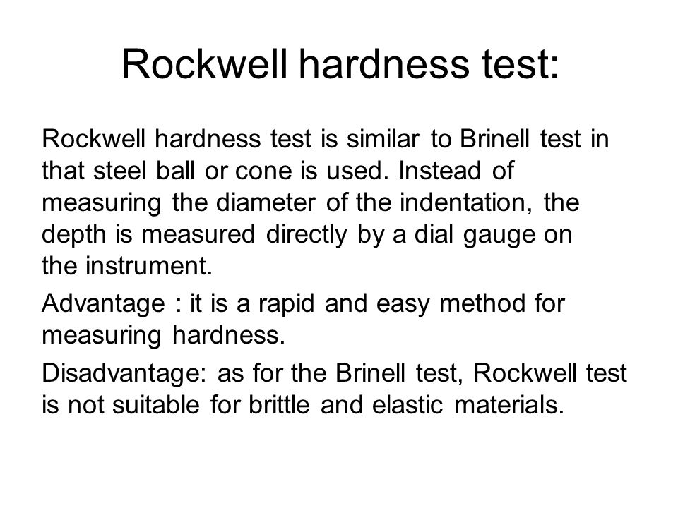 Rockwell hardness test: