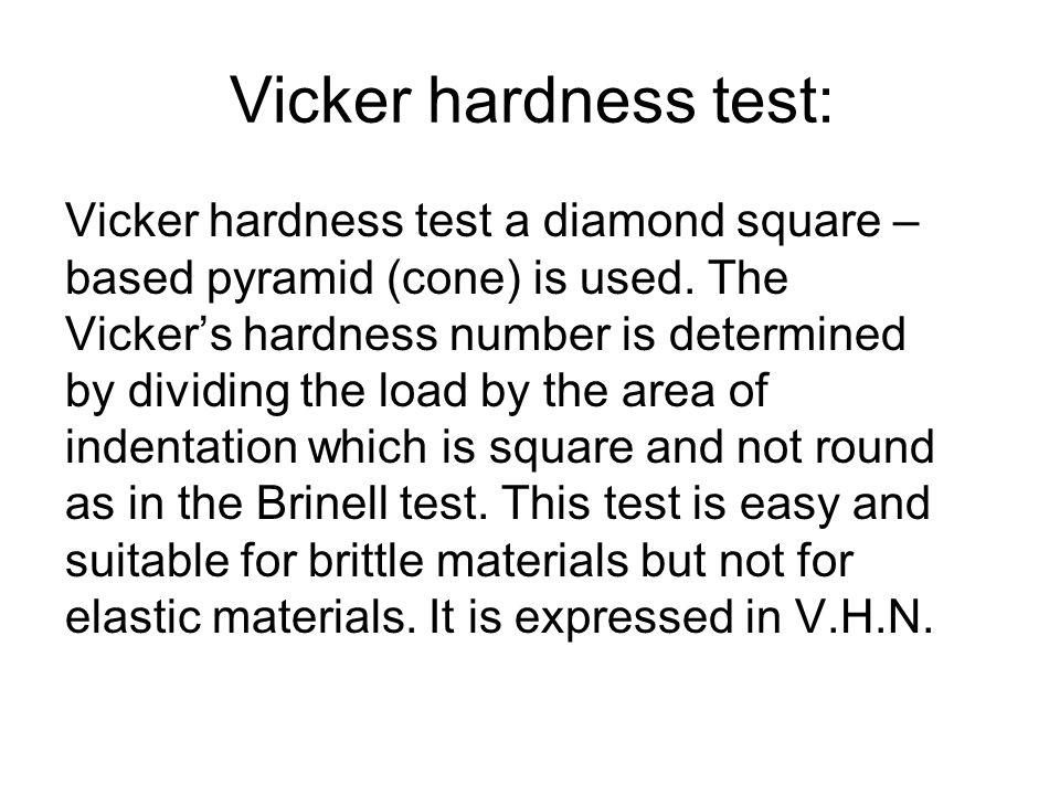 Vicker hardness test: