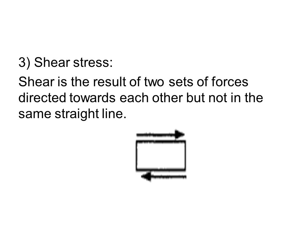 3) Shear stress: Shear is the result of two sets of forces directed towards each other but not in the same straight line.