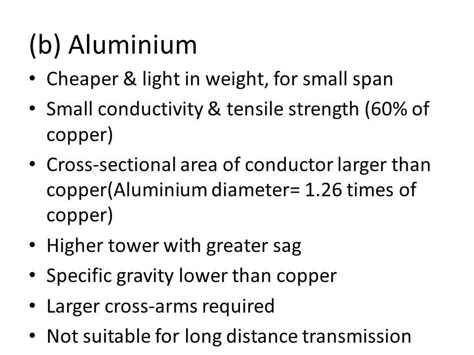 (b) Aluminium Cheaper & light in weight, for small span