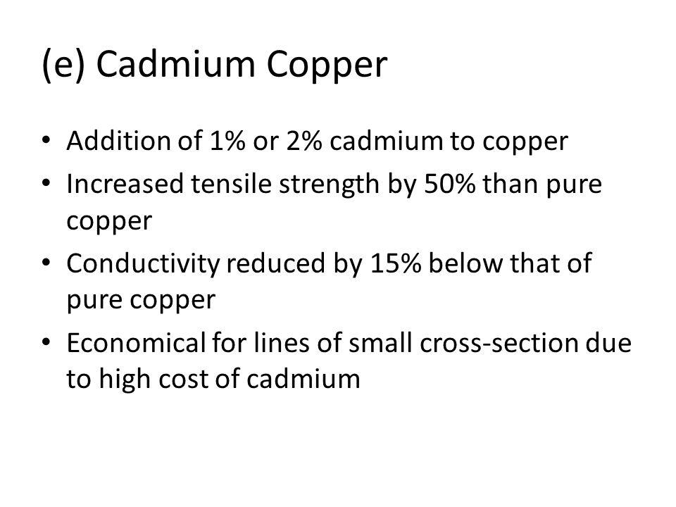 (e) Cadmium Copper Addition of 1% or 2% cadmium to copper