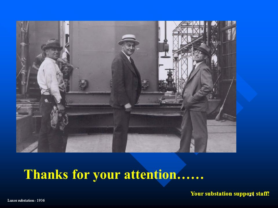 Thanks for your attention…… Your substation support staff!