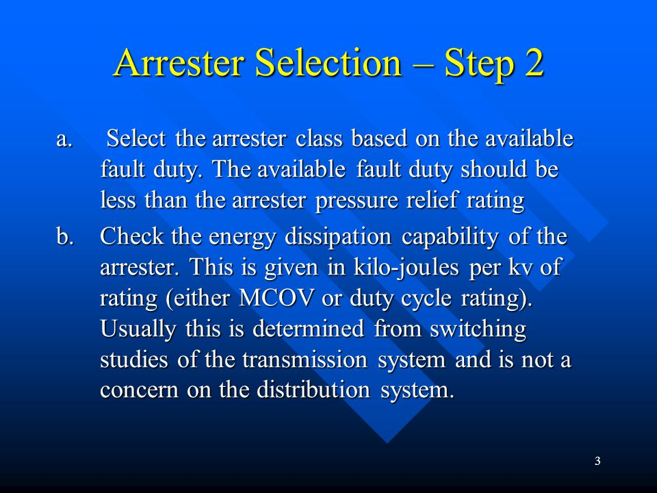 Arrester Selection – Step 2