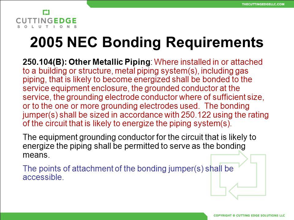 2005 NEC Bonding Requirements