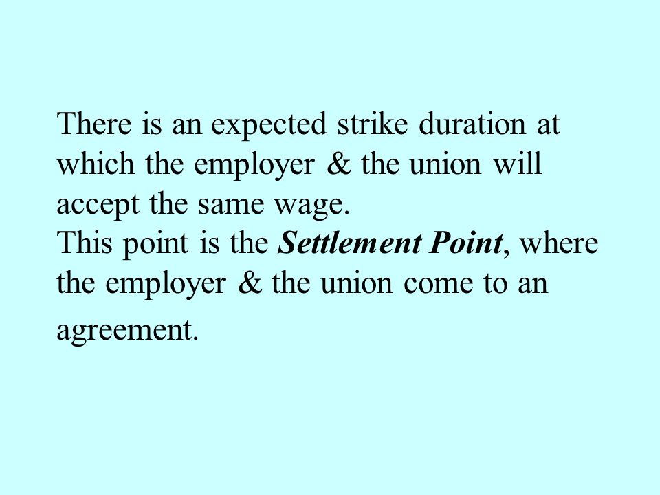 There is an expected strike duration at which the employer & the union will accept the same wage.