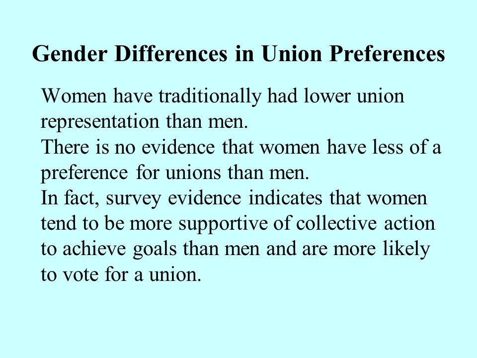 Gender Differences in Union Preferences