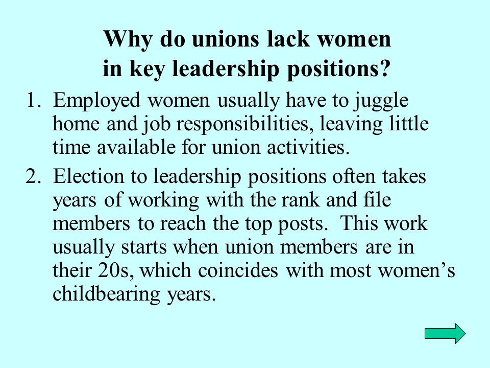 Why do unions lack women in key leadership positions