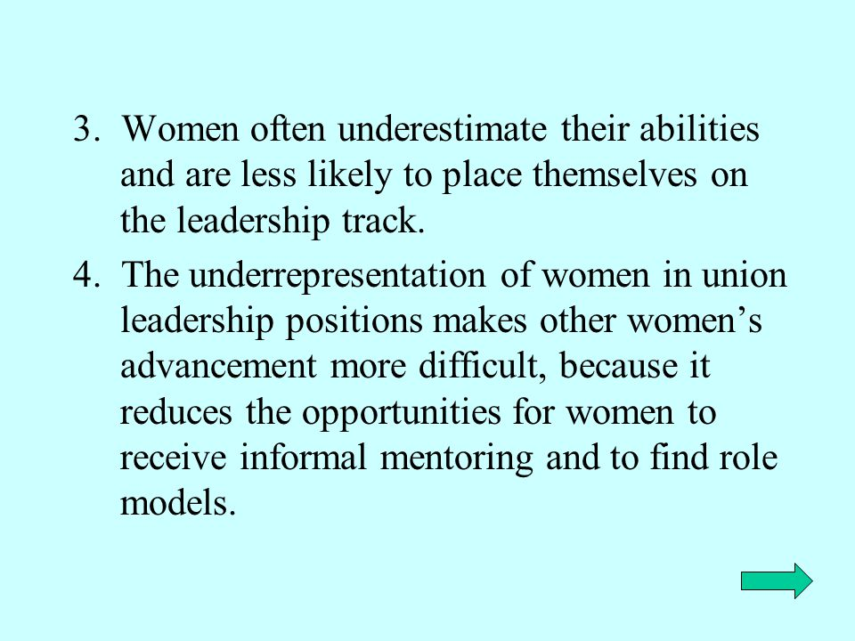 3. Women often underestimate their abilities and are less likely to place themselves on the leadership track.
