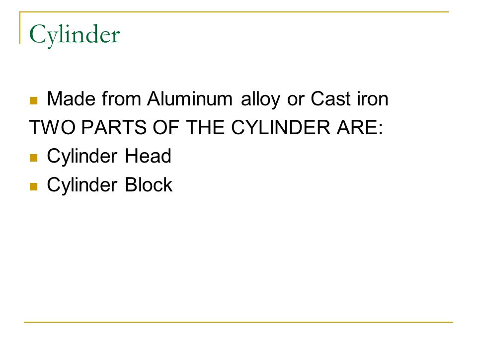 Cylinder Made from Aluminum alloy or Cast iron