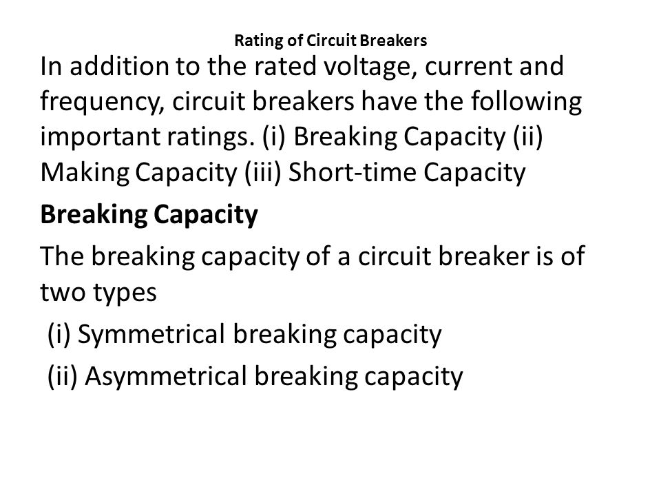Rating of Circuit Breakers