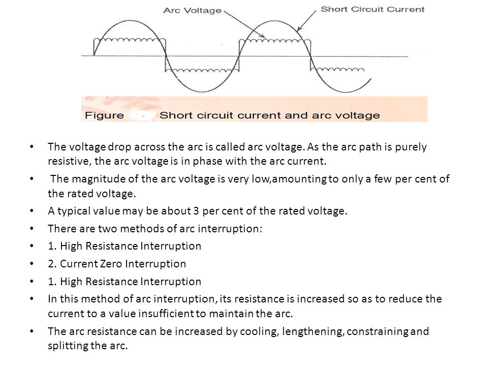 The voltage drop across the arc is called arc voltage