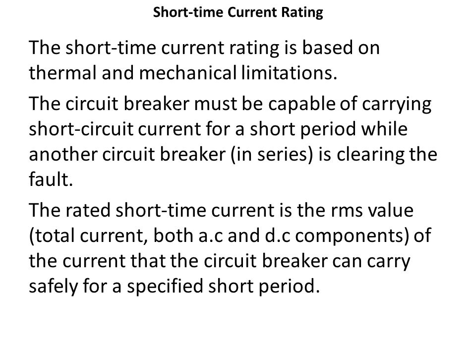Short-time Current Rating
