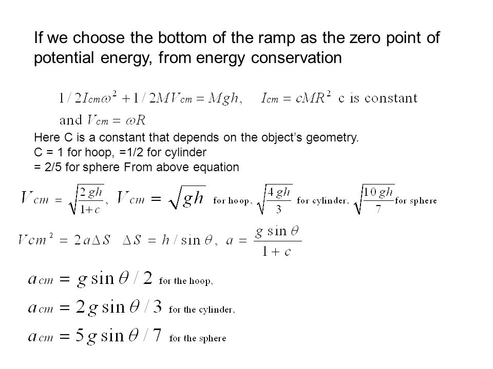 If we choose the bottom of the ramp as the zero point of potential energy, from energy conservation