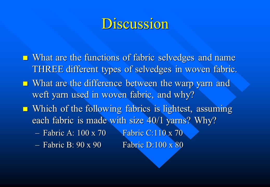 Discussion What are the functions of fabric selvedges and name THREE different types of selvedges in woven fabric.