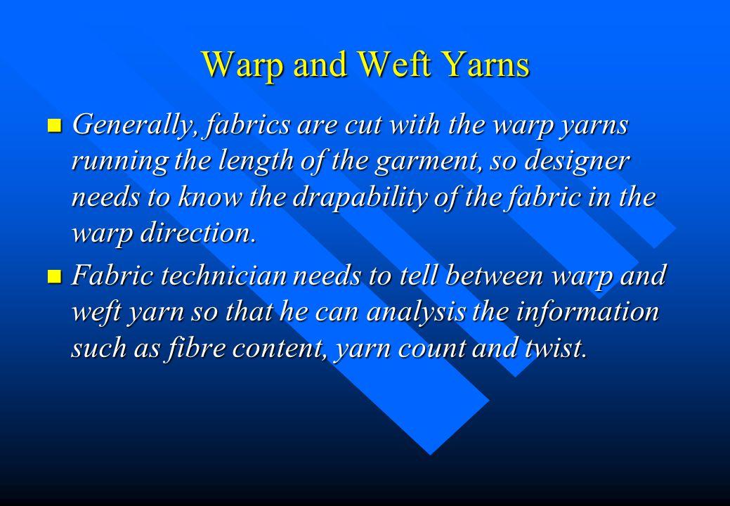 Warp and Weft Yarns