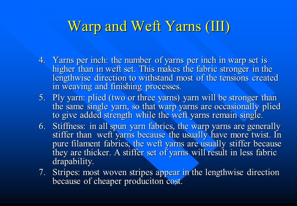 Warp and Weft Yarns (III)